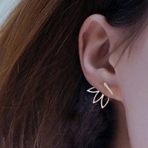 Jewelry - Cute Gold Lotus Bar Flower Earrings ear ring